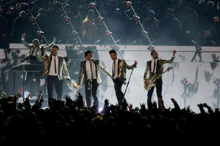 Bruno Mars performs during the halftime show at Super Bowl XLVIII at MetLife Stadium in East Rutherford, New Jersey Sunday.