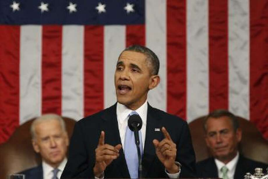 President Obama gives his State of the Union speech last week. Before the Super Bowl he was interviewed by conservative Fox News talk show host Bill O'Reilly. Photo: Getty Images / 2014 Getty Images