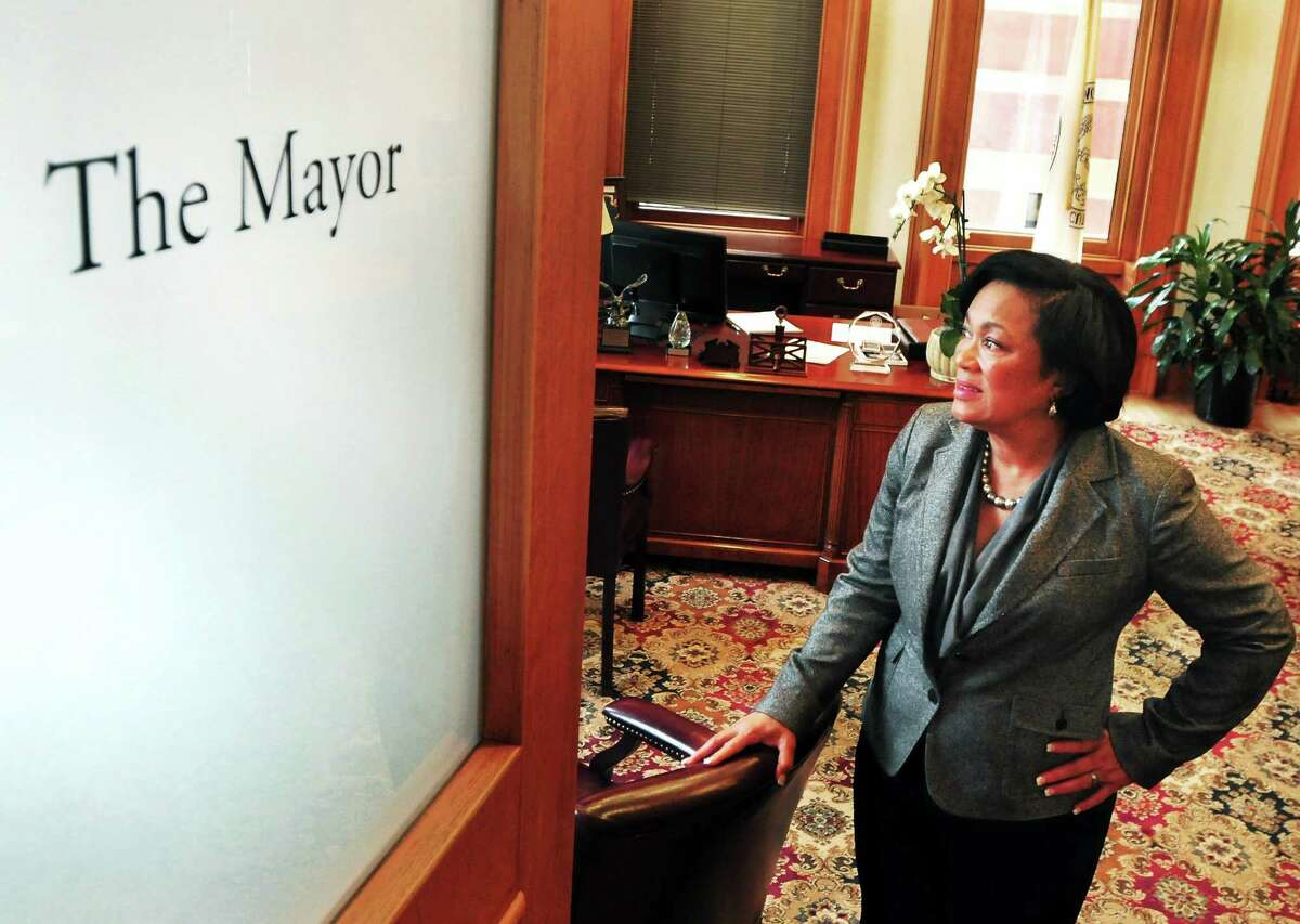 File photo: New Haven Mayor Toni Harp's in her City Hall office.
