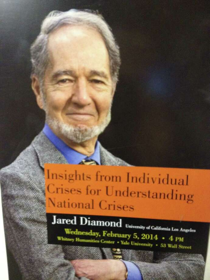 A poster promoting Jared Diamond's lecture at Yale's Whitney Humanities Center auditorium Wednesday. Photo: Abhimanyu Chandra — Special To The Register