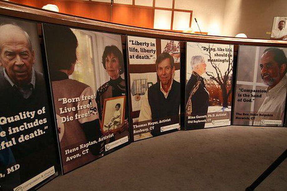 Poster display that was taken down. Photo: Hugh McQuaid—CTNewsJunkie