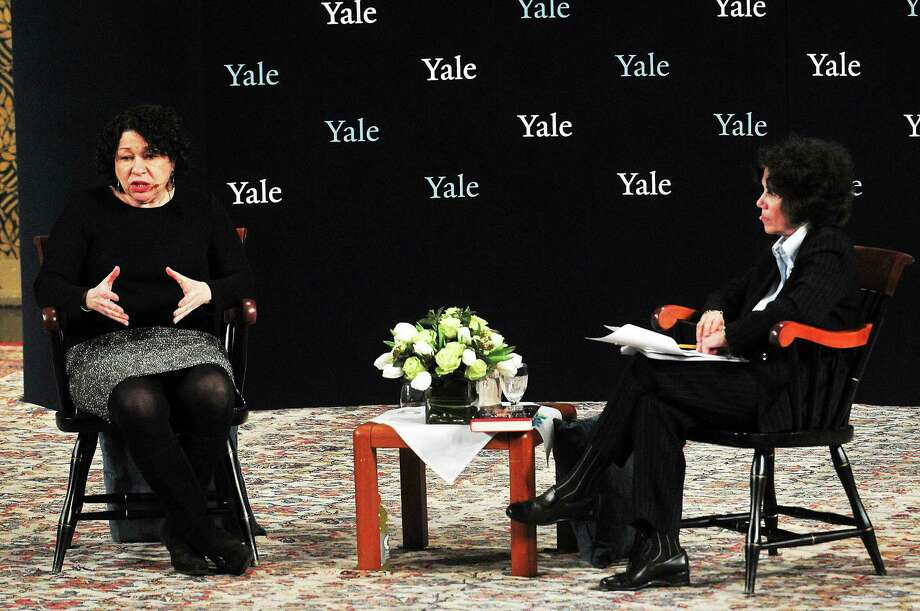 U.S. Supreme Court Justice Sonia Sotomayor, left, talks with Yale Professor Judith Resnik on stage at Yale's Woolsey Hall. Photo: Peter Casolino — New Haven Register