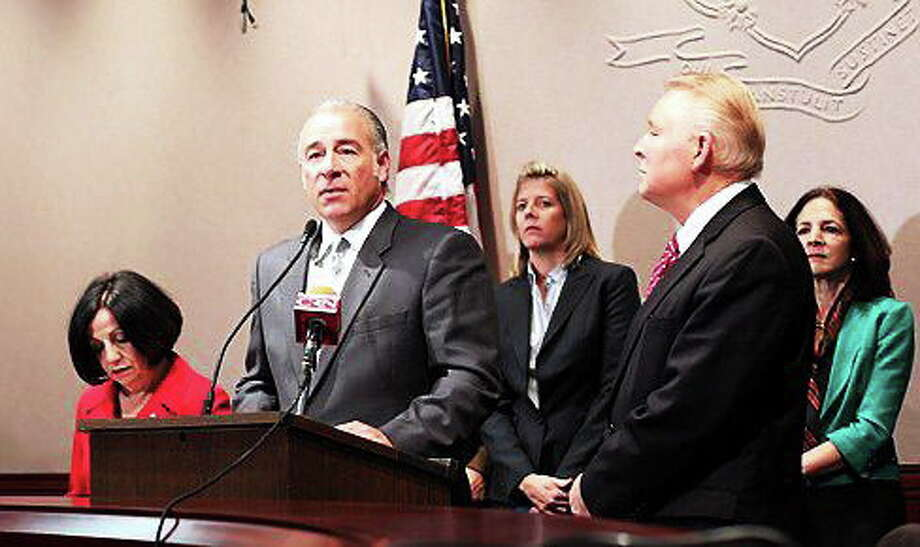 Rep. Antonio Guerrera, D-Rocky Hill with Sen. Toni Boucher and Rep. Steve Mikutel. Photo: Christine Stuart — CT NewsJunkie