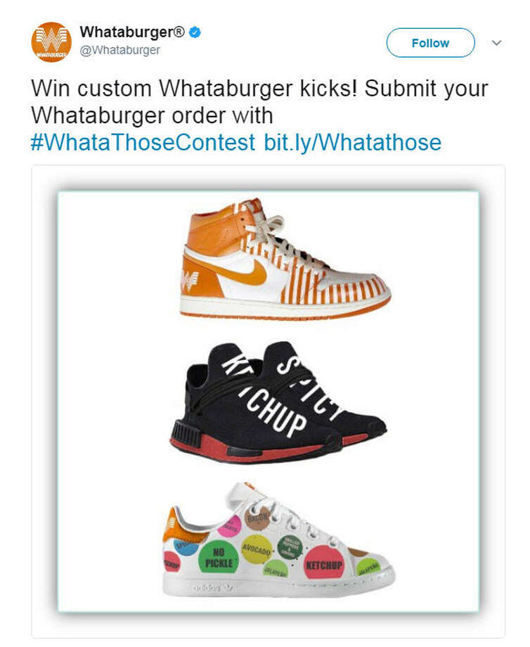 Whataburger is hosting a new contest where three lucky fans of the chains will win one of these custom shoes just by sharing their order on social media with the hashtag, #WhataThoseContest.>>Keep clicking to see 10 facts you probably didn't know about the burger chain.Photo: Whataburger Twitter