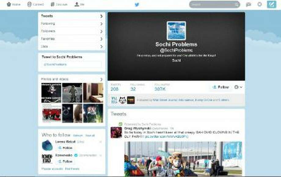 The Twitter account @SochiProblems has attracted over 300,000 followers, as of February 8, 2014.