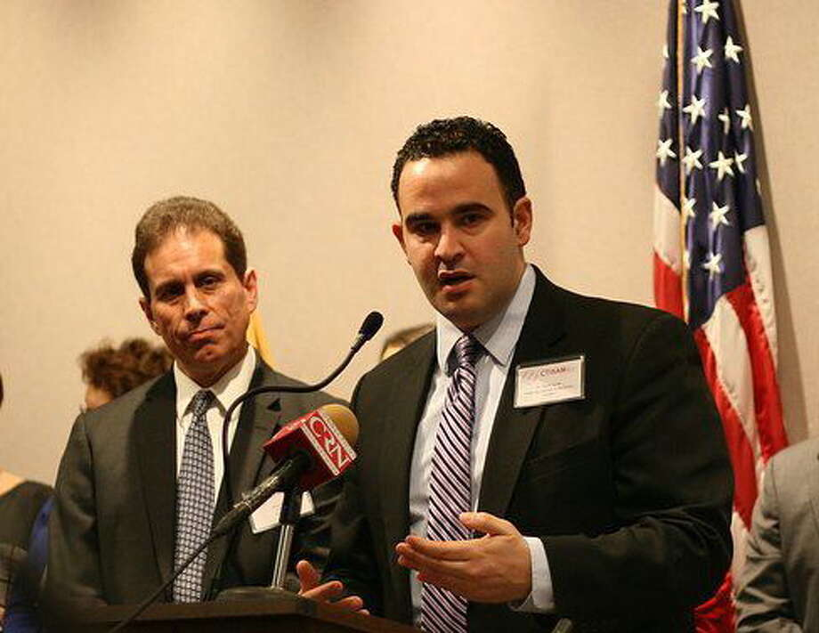 Hugh McQuaid/CT NewsJunkie  Kevin Sabet, director of Smart Approaches to Marijuana, speaks at a press conference Monday. John Daviau, president of Connecticut Association of Prevention Practitioners, is at left. Photo: Journal Register Co.