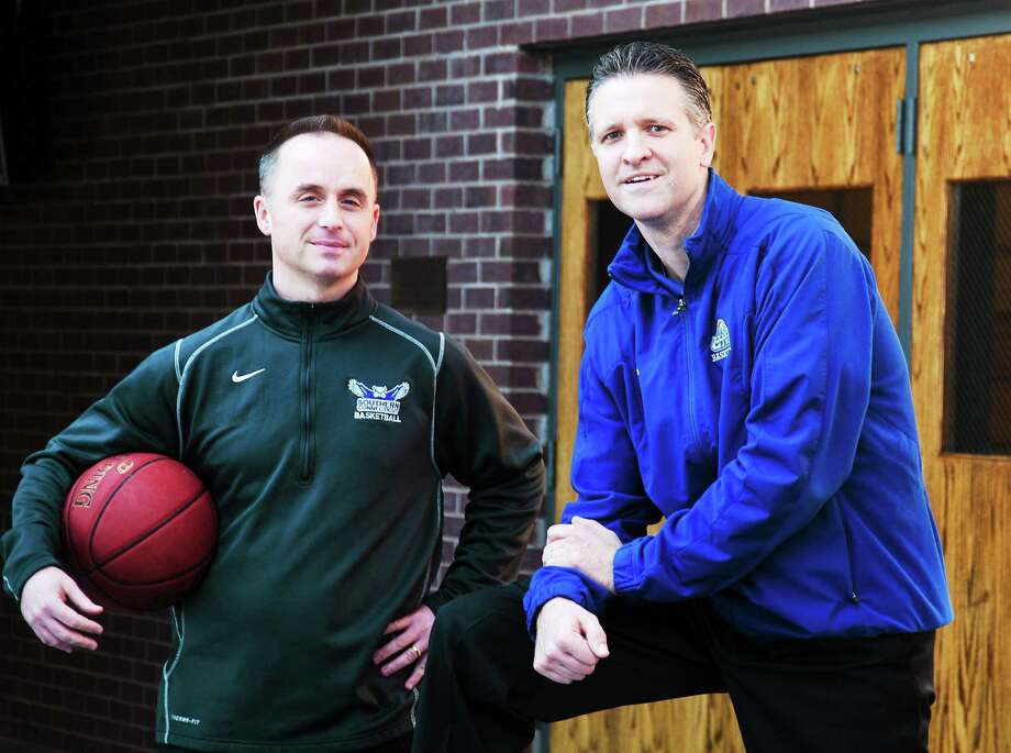 Basketball coaches Mike Donnelly of Southern Connecticut State, left, and Ted Hotaling of the University of New Haven have helped turn around their respective men's basketball programs over the last four years. Photo: Peter Casolino — Register