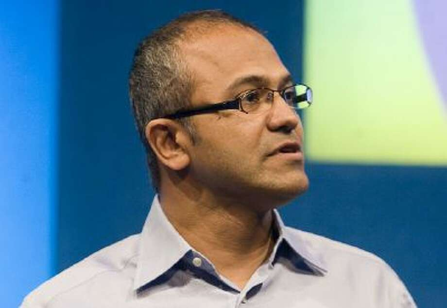 Satya Nadella speaks at the Microsoft's campus in Redmond, Wash., in 2008.