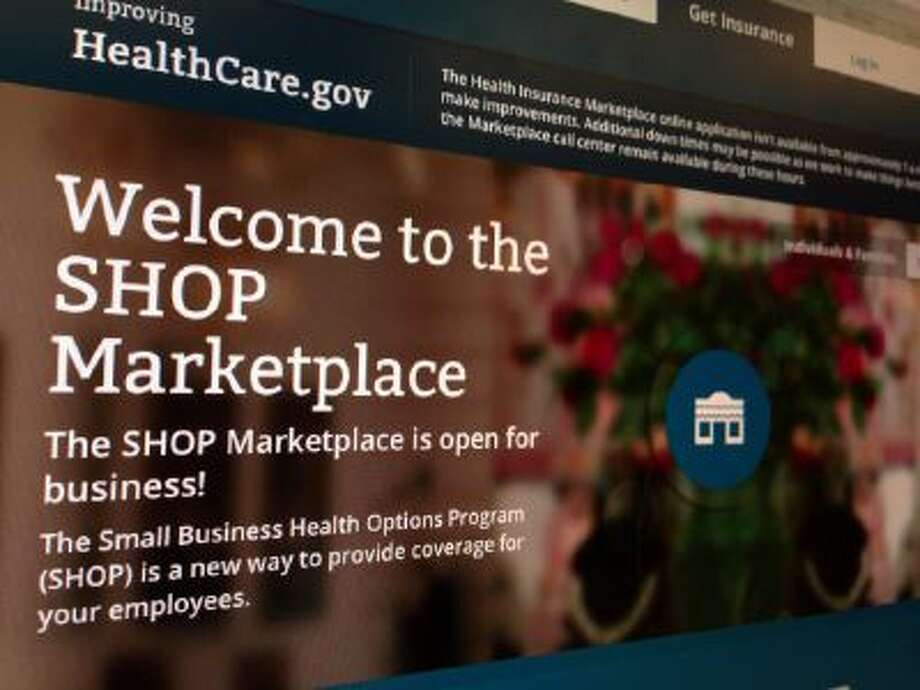 HealthCare.gov website page featuring information about the SHOP Marketplace is photographed in Washington.