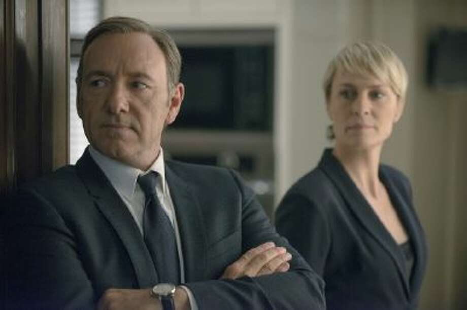 "Kevin Spacey as congressman Francis Underwood and Robin Wright as his wife and a similarly ruthless power player in season 2 of Netflix's ""House of Cards."""