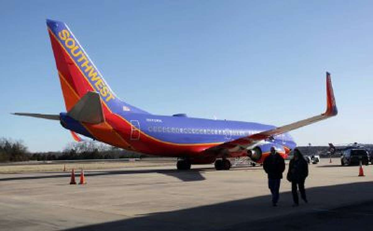 Southwest Airlines Flight 4013 sits at the M. Graham Clark Downtown Airport in Hollister, Mo.
