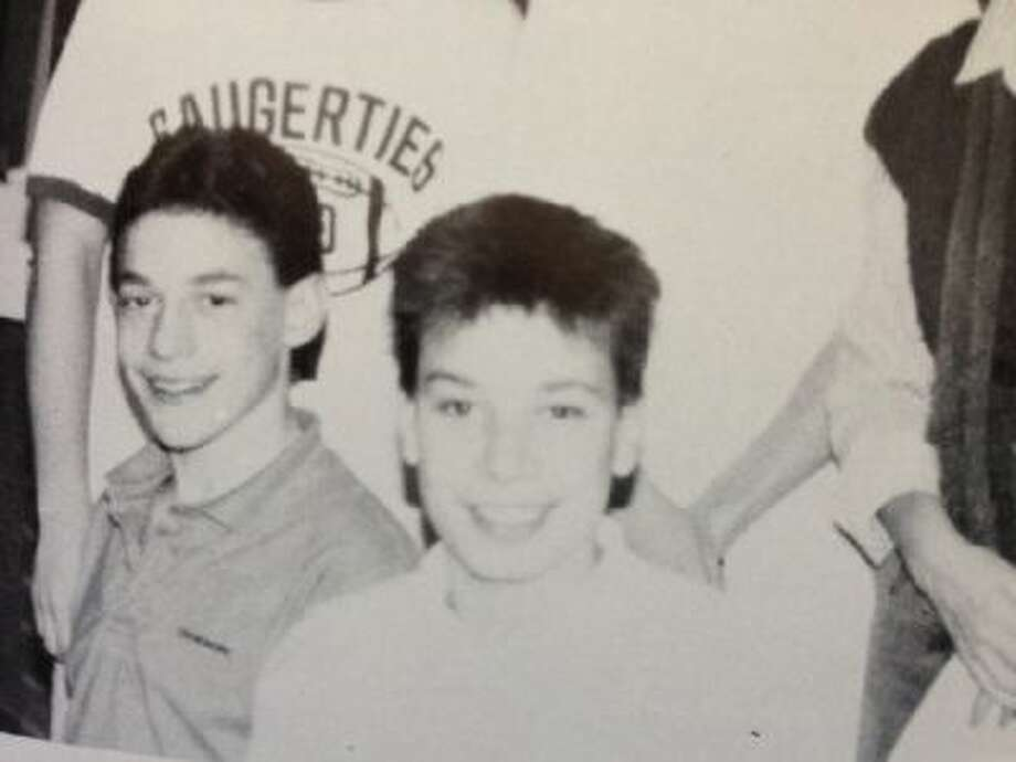 Jimmy Fallon, center, in a 10th grade photo from the Saugerties High School yearbook.
