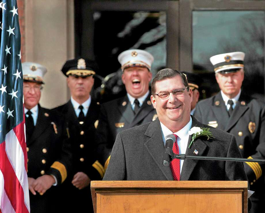 West Haven Mayor Edward O'Brien at his inauguration outside City Hall in December 2013. Photo: Melanie Stengel — New Haven Register