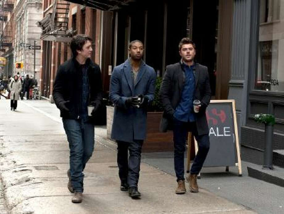 "This image released by shows Miles Teller, from left, Michael B. Jordan and Zac Efron in a scene from ""That Awkward Moment."""