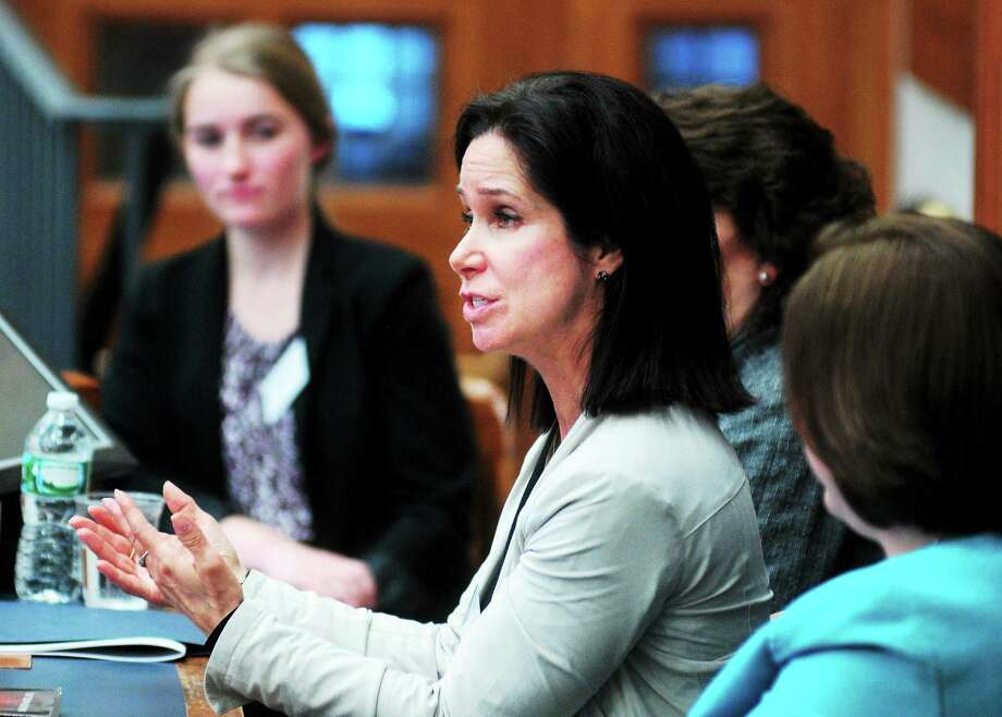 (Arnold Gold ó New Haven Register)  Yale University Associate Professor Saralyn Mark (center) speaks during the seminar, Careers in STEM: What It Means to Pioneer, at the 2014 Yale Women in Leadership Conference on 2/1/2014. Photo: Journal Register Co.