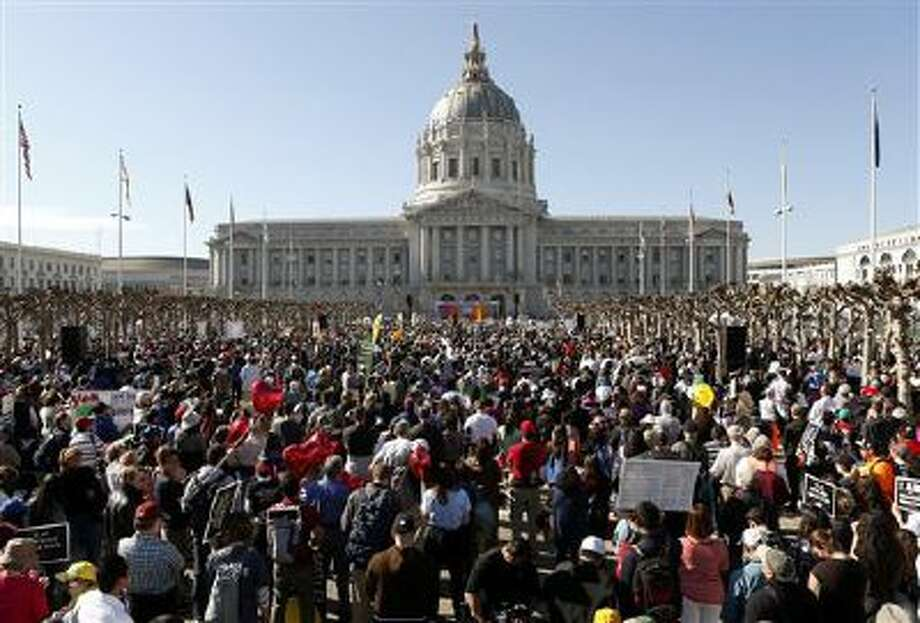"Abortion opponents gather Jan. 25 in San Francisco's Civic Center for the ""Walk for Life"" rally and march. Photo: AP / FR170639 AP"