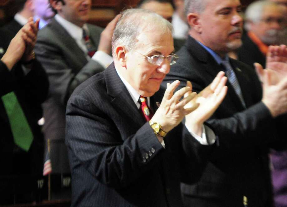State Senate Majority Leader Martin M. Looney claps as Gov. Dannel P. Malloy gives his annual State of the State address to a joint session of the Connecticut General Assembly Thursday in Hartford. Photo: Peter Hvizdak — New Haven Register      / ©Peter Hvizdak /  New Haven Register