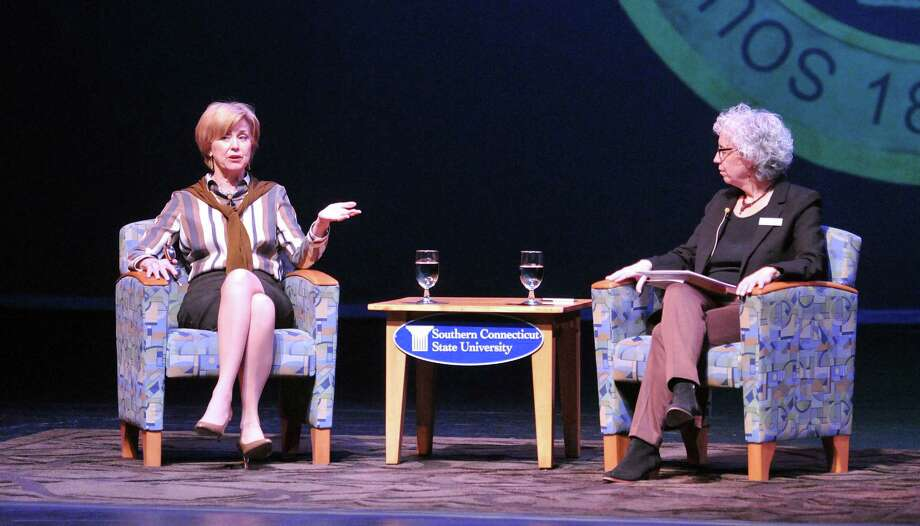 """Former """"Today"""" host Jane Pauley, left, talks with WSHU Public Radio news director Naomi Starobin on stage at Southern Connecticut State University's Lyman Center for the Performing Arts in New Haven Thursday. Photo: Peter Casolino — New Haven Register"""
