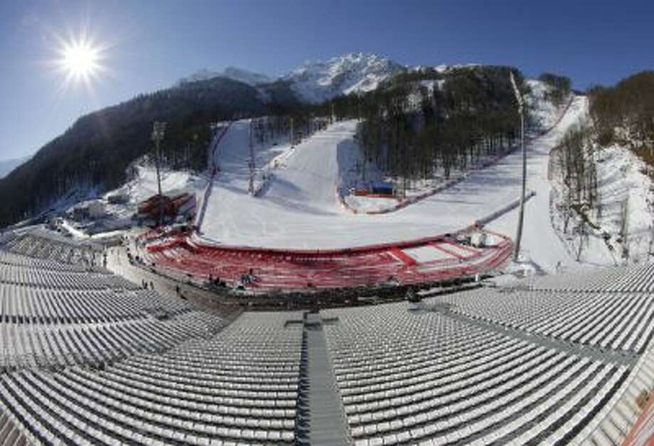 This image made with a fisheye lens shows the finish area of the Alpine ski course ahead of the Sochi 2014 Winter Olympics, Wednesday, Feb. 5, 2014, in Krasnaya Polyana, Russia.