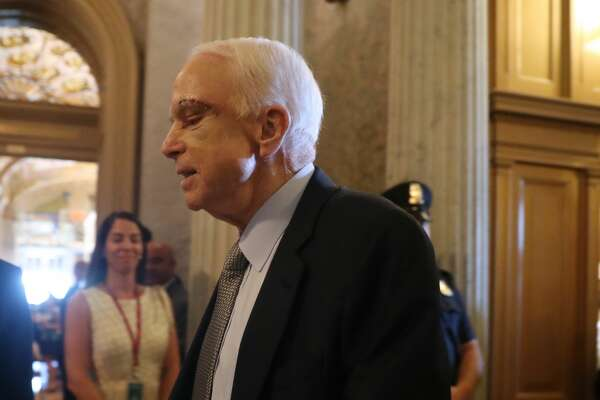Sen. John McCain, R-Ariz. arrives on Capitol Hill in Washington, Tuesday, July 25, 2017, as the Senate was to vote on moving head on health care with the goal of erasing much of Barack Obama's law.  (AP Photo/Andrew Harnik)