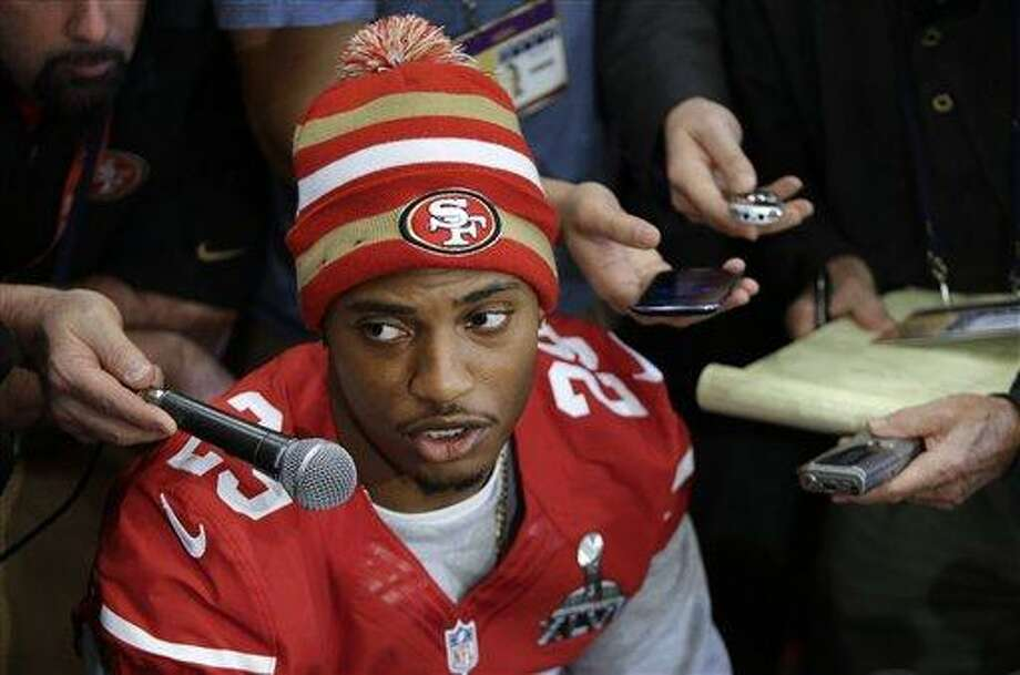 """San Francisco 49ers cornerback Chris Culliver answers questions Thursday, Jan. 31, 2013, in New Orleans, regarding anti-gay remarks he made during Super Bowl media day Tuesday. Culliver apologized for the comments he made to a comedian, saying """"that's not what I feel in my heart."""" The 49ers are scheduled to play the Baltimore Ravens in the NFL Super Bowl XLVII football game on Feb. 3. (AP Photo/Mark Humphrey) Photo: ASSOCIATED PRESS / AP2013"""