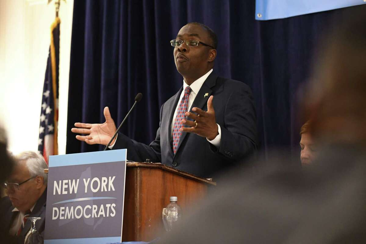 Chairman of the New York Democratic Committee, Buffalo Mayor Byron Brown speaks during a committee meeting at the Desmond on Tuesday, July 25, 2017, in Colonie, N.Y. (Will Waldron/Times Union)