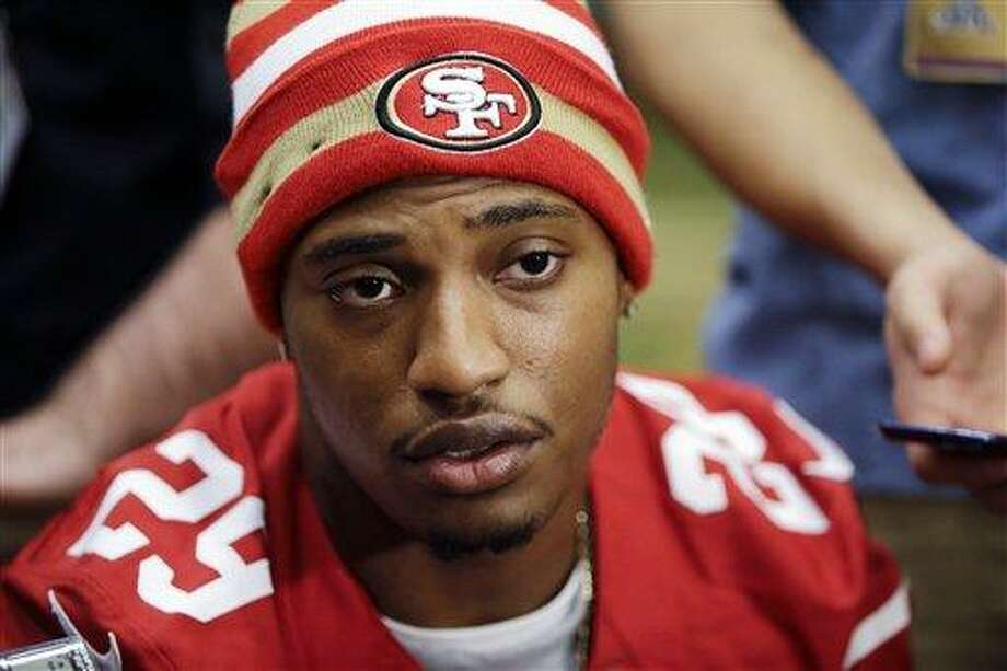"""San Francisco 49ers cornerback Chris Culliver answers questions Thursday, Jan. 31, 2013, in New Orleans, regarding anti-gay remarks he made during Super Bowl media day Tuesday. Culliver apologized for the comments he made to a comedian, saying """"that's not what I feel in my heart."""" The 49ers are scheduled to play the Baltimore Ravens in the NFL Super Bowl XLVII football game on Feb. 3. (AP Photo/Mark Humphrey) Photo: AP / AP"""