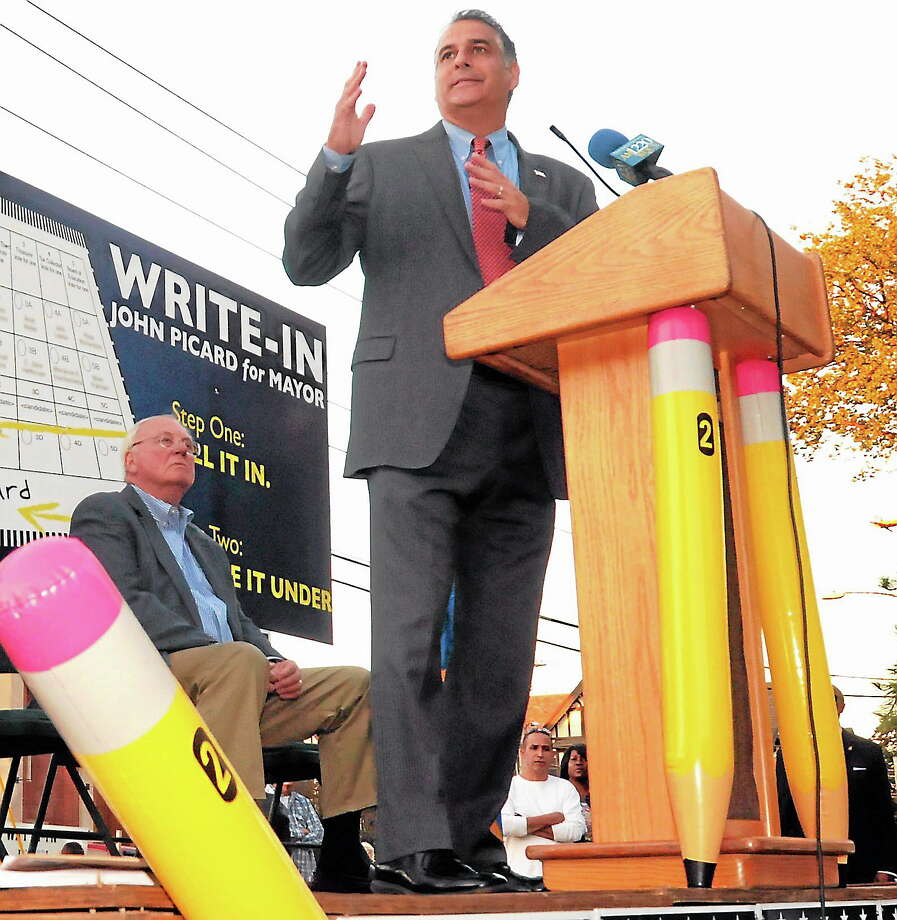 (Mara Lavitt — New Haven Register) West Haven Mayor John Picard announces his write-in campaign Monday for re-election to a fifth term. Photo: Journal Register Co. / Mara Lavitt