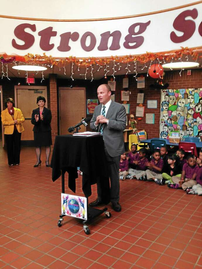 School Chief Garth Harries speaks during announcement that New Haven Public Schools won $3.7 million in federal magnet school funding Photo: Journal Register Co.