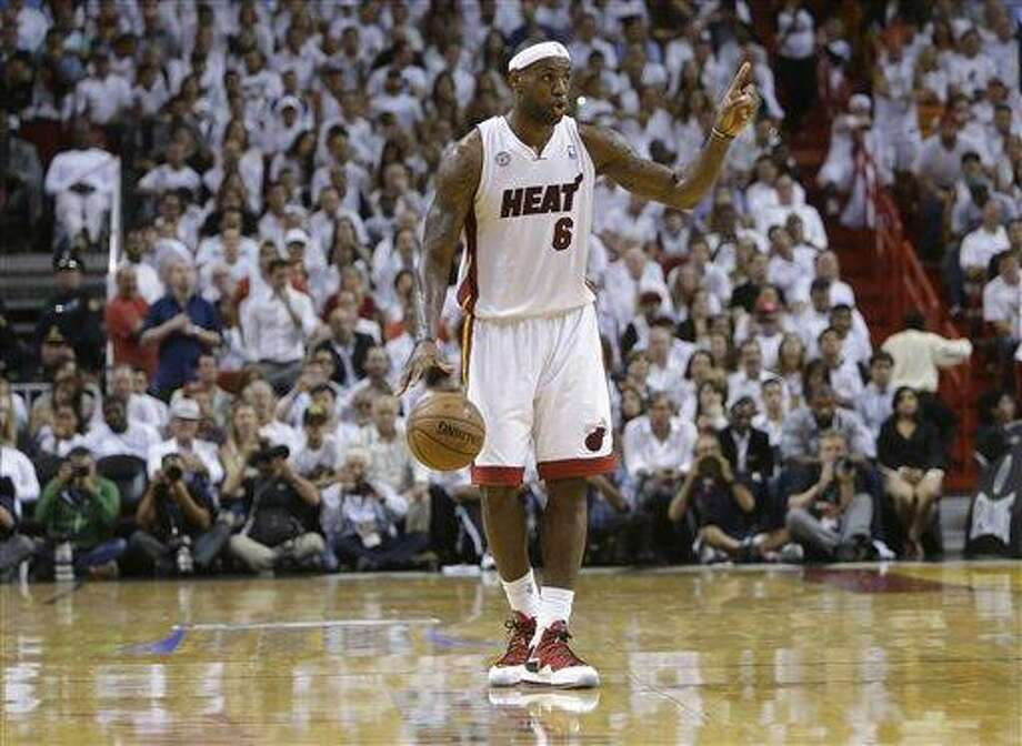 Miami Heat small forward LeBron James (6) calls out a play during the second half of Game 5 in their NBA basketball Eastern Conference finals playoff series against the Indiana Pacers, Thursday, May 30, 2013 in Miami. (AP Photo/Lynne Sladky) Photo: AP / AP