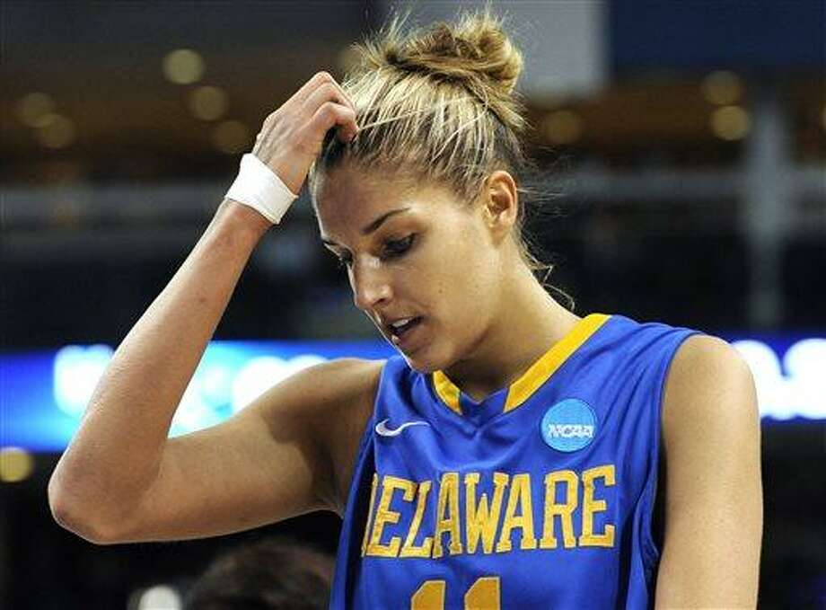 Delaware's Elena Delle Donne reacts in the final seconds of a regional semifinal against Kentucky in the NCAA college basketball tournament in Bridgeport, Conn., Saturday, March 30, 2013. Kentucky won 69-62. (AP Photo/Jessica Hill) Photo: AP / FR125654 AP