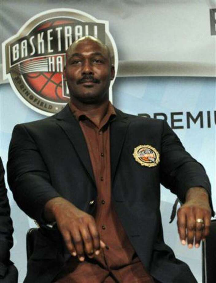 Basketball Hall of Fame inductee Karl Malone during the enshrinement news conference at the Hall of Fame Museum in Springfield, Mass., Aug. 13, 2010. Photo: AP / AP