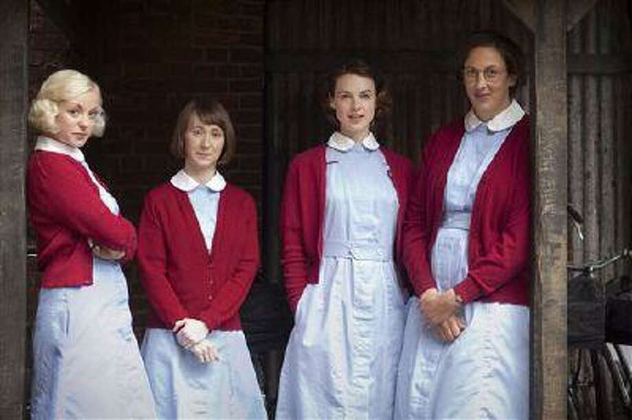 """This publicity image released by PBS shows, from left, Trixie Franklin, Cynthia Miller, Jenny Lee , and Chummy Noakes from the PBS series """"Call the Midwife."""" (AP Photo/PBS, Laurence Cendrowicz) Photo: AP / PBS"""