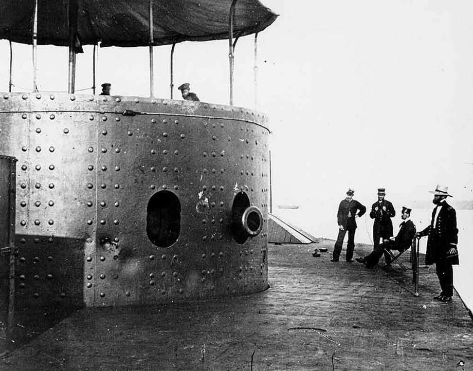 The Monitor on the James River, Virginia, in 1862, after the Battle of Hampton Roads. Note the dents in the armor on the turret.