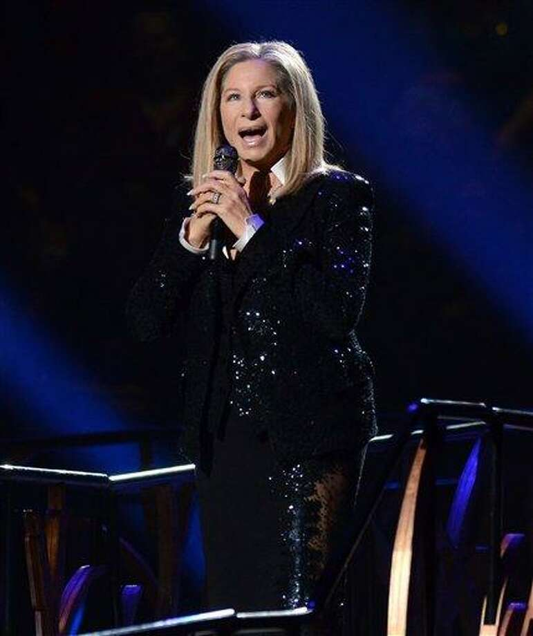 FILE - This Oct. 11, 2012 file photo shows singer Barbra Streisand performing at the Barclays Center in the Brooklyn borough of  New York. The Academy of Motion Picture Arts and Sciences announced Wednesday that the 70-year-old singing veteran will hit the stage on Feb. 24. It will be her second performance at the Oscars, and her first in 36 years. (Photo by Evan Agostini/Invision/AP, file) Photo: AP / Invision