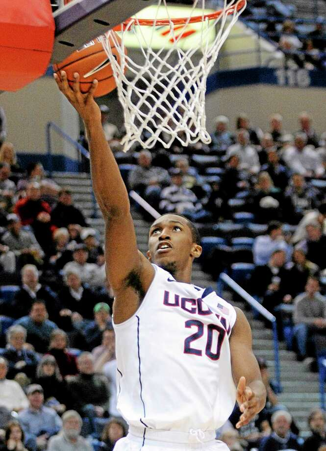 UConn guard Lasan Kromah scores during the second half of the 13th-ranked Huskies' 76-66 victory over Loyola on Tuesday night at the XL Center in Hartford. Photo: Fred Beckham — The Associated Press   / FR153656 AP