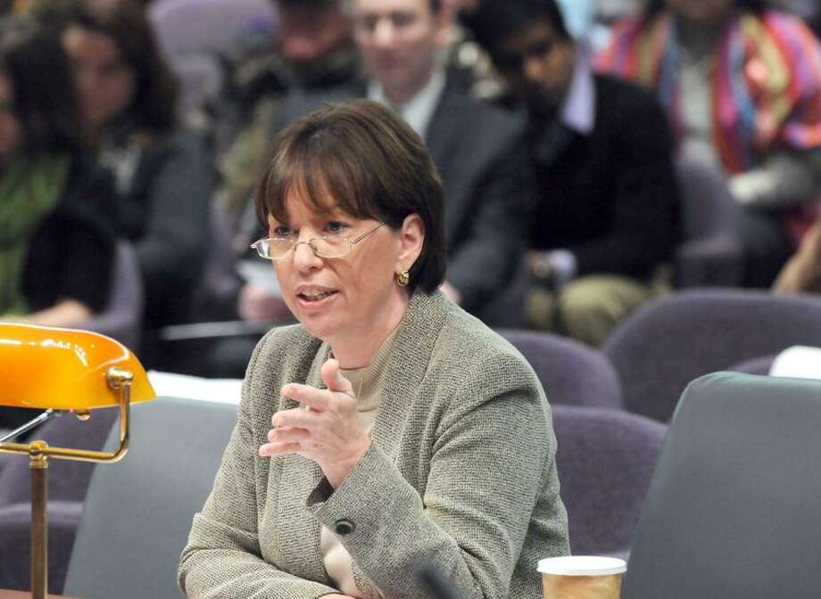 Commissioner Patricia Rehmer, Dept. of Mental Health and Addiction Services testifies at the Legislative Office Building, Hartford; CT state legislature's Bipartisan Task Force Prevention and Children's Safety, Mental Health Services Working Group informational forum. Mara Lavitt/New Haven Register1/29/13