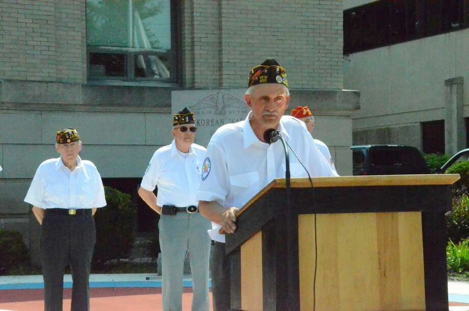 Dispatch Staff Photo by Nick Will// Douglas T. Ginney spoke at the Madison County Veteran's Memorial on May 30 for Memorial Day.