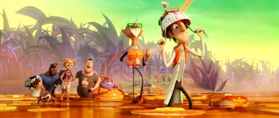 """The sequel """"Cloudy With a Chance of Meatballs 2"""" delivers about as much pizzazz as reheated leftovers. Illustrates FILM-CLOUDY (category e), by Sean O'Connell, special to The Washington Post. Moved Thursday, Sept. 26, 2013. (MUST CREDIT: Sony Pictures Animation) Photo: The Washington Post / THE WASHINGTON POST"""