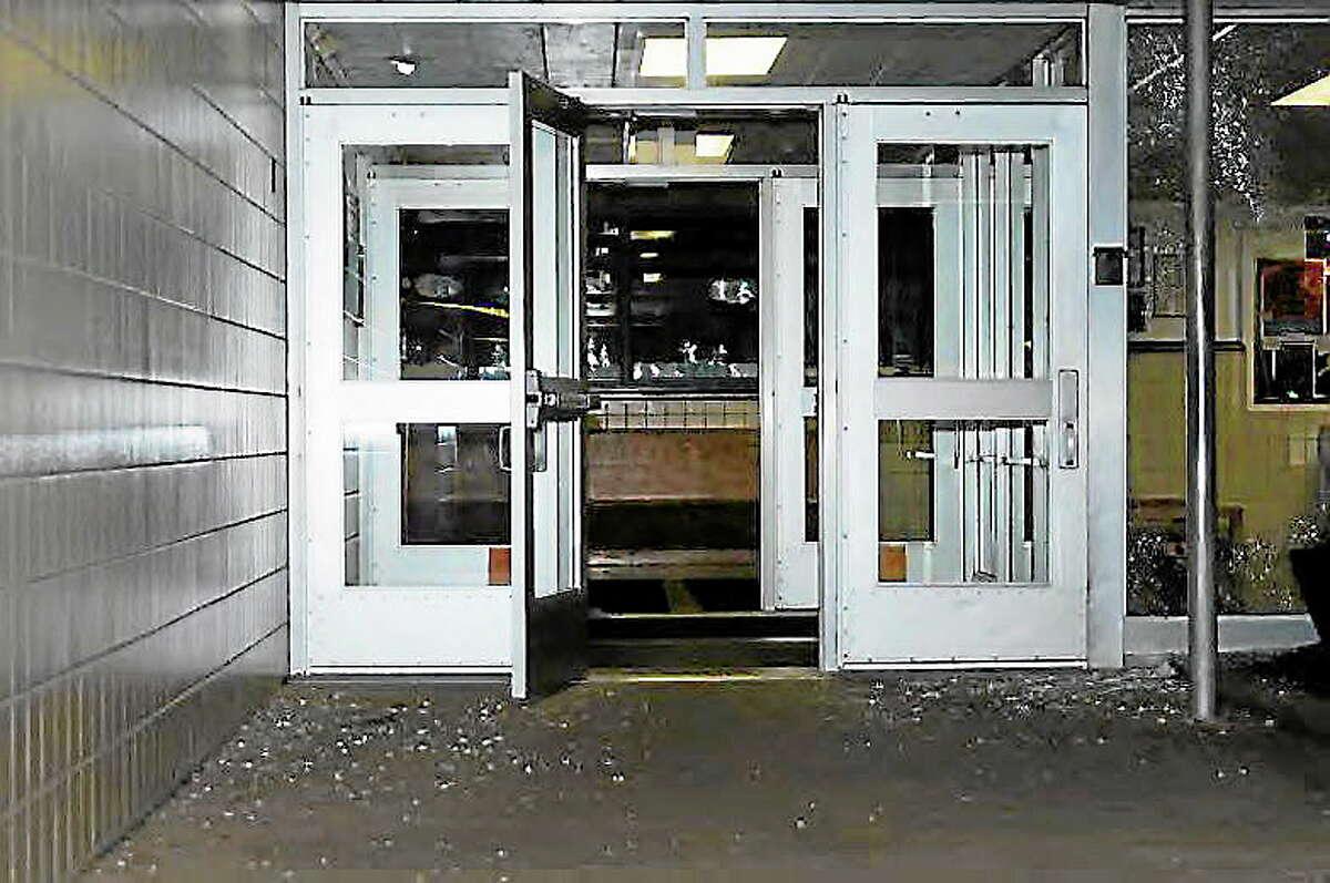 Door at Sandy Hook Elementary School.