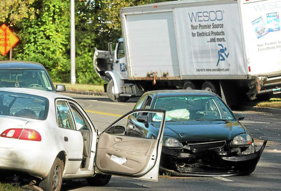 The scene of a car accident on Sargent Drive in New Haven Wednesday. Photo: Mara Lavitt — New Haven Register   / Mara Lavitt