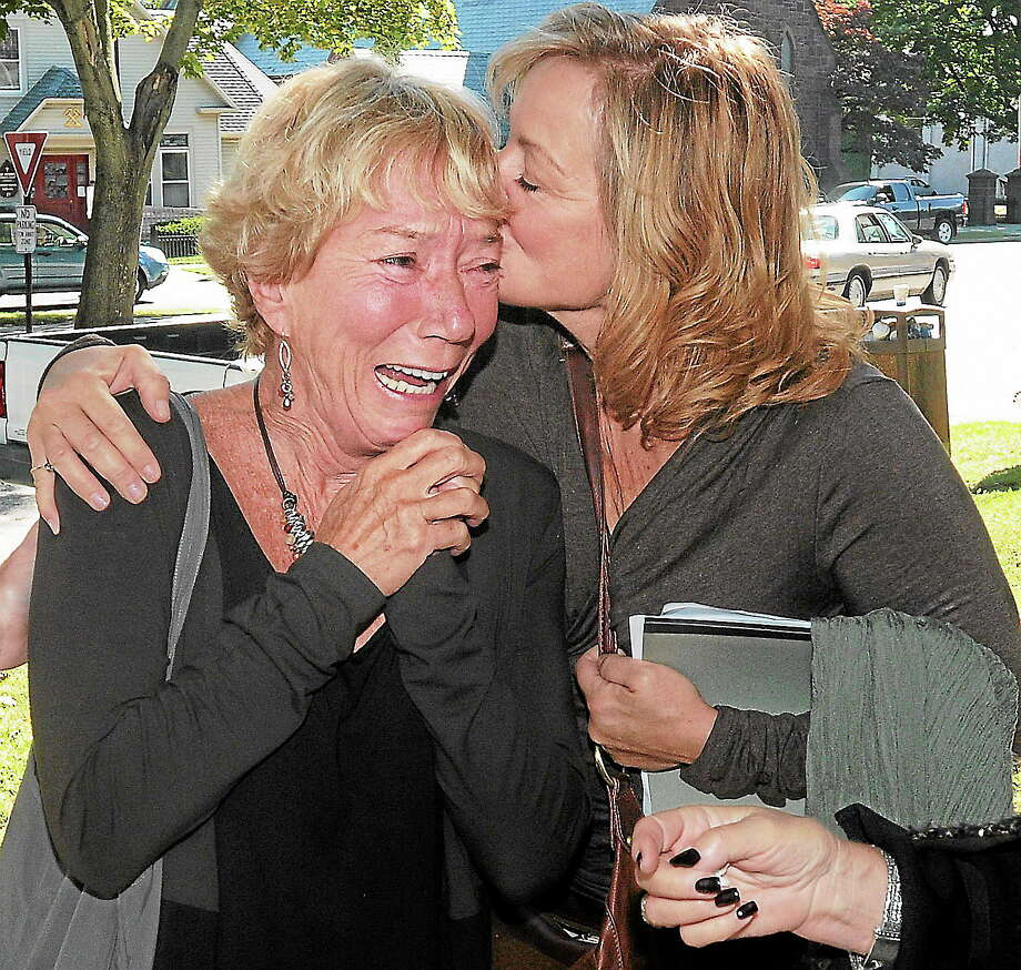 (Mara Lavitt — New Haven Register) September 25, 2013 Milford.After the sentencing of Luis Rodriguez in the killing of Kelsey Monahon in 2001. Monahan's mother Joan Dunnder, left, and Monahan's sister-in-law Janet McClellan after leaving the courthouse. Photo: Journal Register Co. / Mara Lavitt