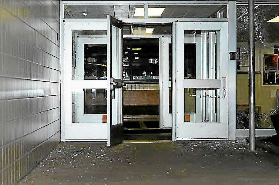 Door at Sandy Hook Elementary School, in photo provided by the Division of Criminal Justice. Photo: Journal Register Co.