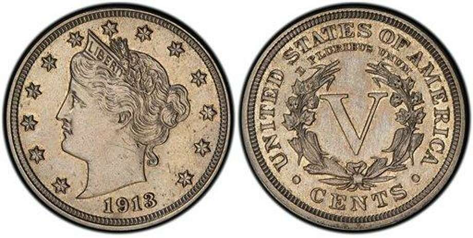 This image provided by Heritage Auctions shows an authentic 1913 Liberty Head nickel that was hidden in a Virginia closet for 41 years after its owners were mistakenly told it was a fake. The nickel is one of only five known and expected to sell for $2.5 million or more in an auction conducted by Heritage Auctions in the Chicago suburb of Schaumburg, Ill., on April 25, 2013. (AP Photo/courtesy of Heritage Auctions.) Photo: AP / Heritage Auctions