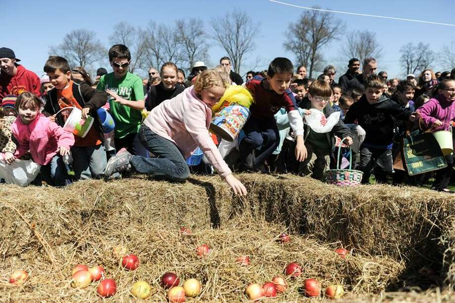 Contributed photo: They're rolling in Easter apples at Lyman Orchards in Middlefield. Easter Bunny will be at both events.