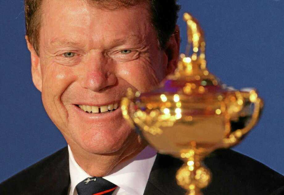 U.S. Ryder Cup captain Tom Watson smiles during a press conference to launch the Ryder Cup on Tuesday at The Gleneagles Hotel in Gleneagles, Scotland. Photo: Andrew Milligan — The Associated Press   / PA