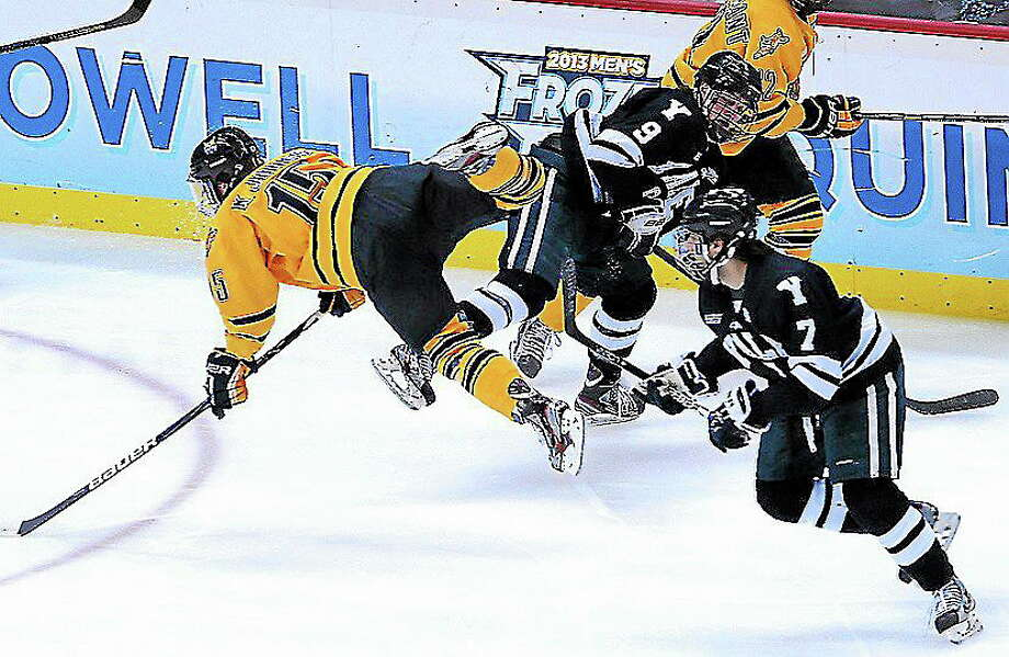 Yale and Quinnipiac are again at the top of ECAC Hockey five months after playing each other in the national title game at the Frozen Four in Pittsburgh, Pa. Photo: PETER CASOLINO — REGISTER