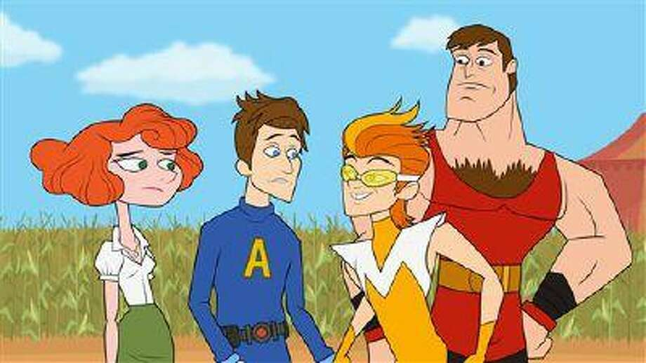"This publicity image released by Hulu shows characters from ""The Awesomes,"" from left, Concierge, voiced by Emily Spivey, Prock, voiced by Seth Meyers, Frantic, voiced by Taran Killam, and Muscleman, voiced by Ike Barinholtz. The animated series premieres Aug. 1, on Hulu. (AP Photo/Hulu) Photo: AP / Hulu"