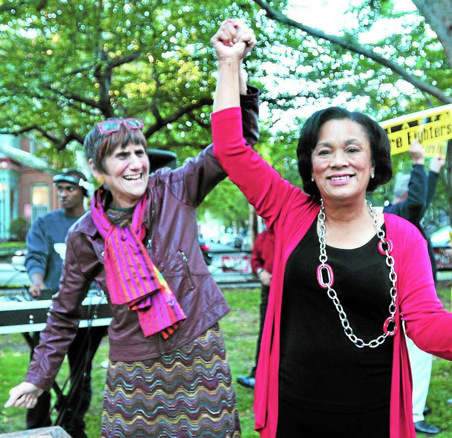 (Arnold Gold — New Haven Register)  U.S. Rep Rosa DeLauro (left) endorsed Toni Harp (right) in the New Haven mayor's race at Wooster Square in New Haven on 9/23/2013. Photo: Journal Register Co.