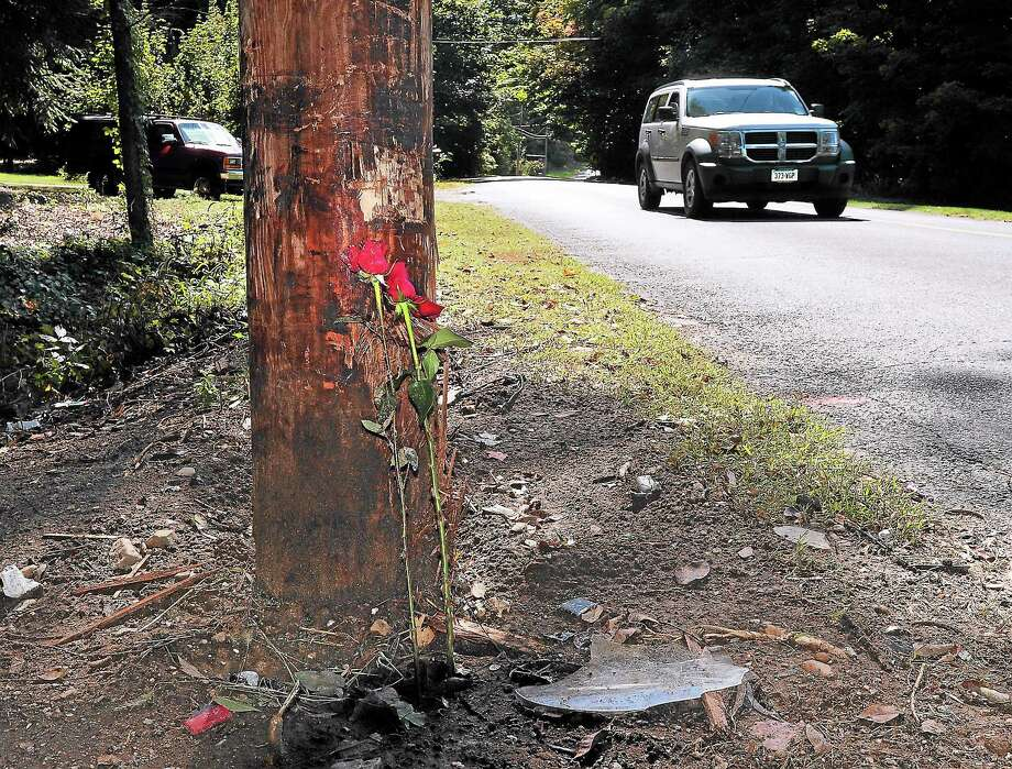 (Peter Casolino — New Haven Register)   Two roses lean against a telephone pole along Indian River Road in Orange, where a single-car crash Friday left one teen dead and three injured.  09/22/13 Photo: Journal Register Co.